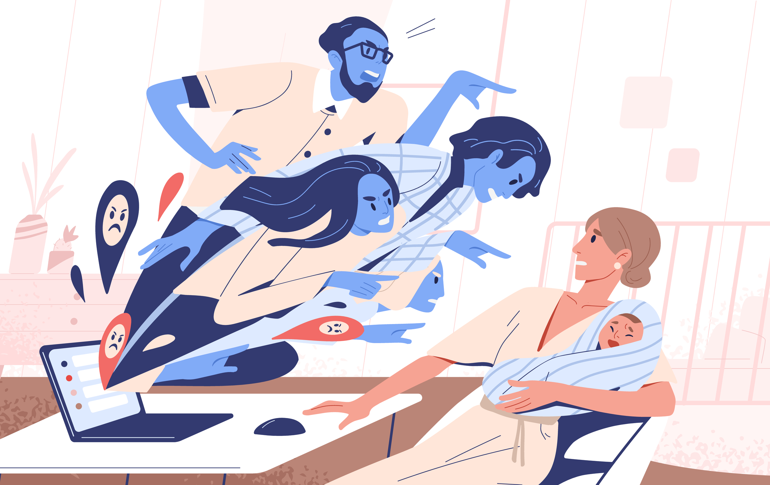 Abstract,People,Blames,Young,Mother,Hold,Toddler,Vector,Flat,Illustration.